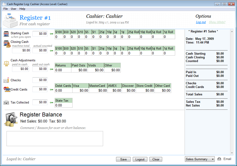 Cash Register Log Screenshot